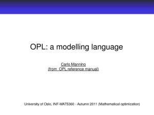 OPL: a modelling language