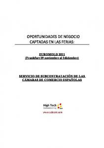OPORTUNIDADES DE NEGOCIO CAPTADAS EN LAS FERIAS: