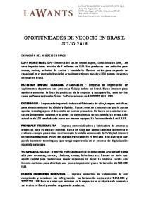OPORTUNIDADES DE NEGOCIO EN BRASIL JULIO 2016