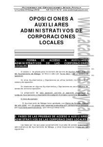 OPOSICIONES A AUXILIARES ADMINISTRATIVOS DE CORPORACIONES LOCALES