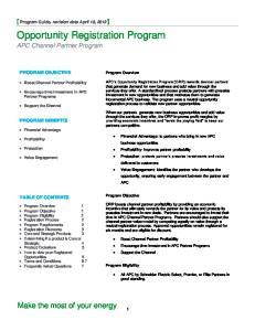 Opportunity Registration Program APC Channel Partner Program