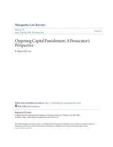 Opposing Capital Punishment: A Prosecutor's Perspective