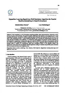 Opposition Learning-Based Grey Wolf Optimizer Algorithm for Parallel Machine Scheduling in Cloud Environment