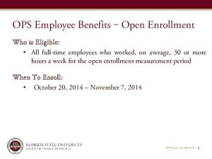 OPS Employee Benefits Open Enrollment