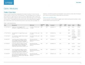 Optic Modules. Product Description. Features and Benefits. Data Sheet