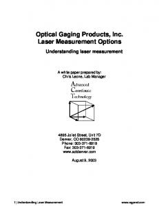 Optical Gaging Products, Inc. Laser Measurement Options