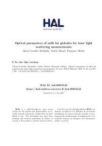 Optical parameters of milk fat globules for laser light scattering measurements