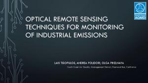 OPTICAL REMOTE SENSING TECHNIQUES FOR MONITORING OF INDUSTRIAL EMISSIONS