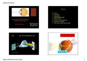 Optics and Rod and cone vision 1