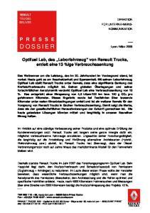 Optifuel Lab, das Laborfahrzeug von Renault Trucks, erzielt eine 13 %ige Verbrauchssenkung