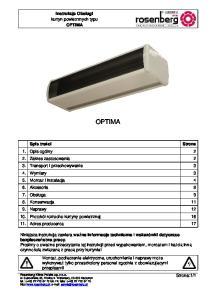 OPTIMA. Instrukcja Obsługi kurtyn powietrznych typu OPTIMA