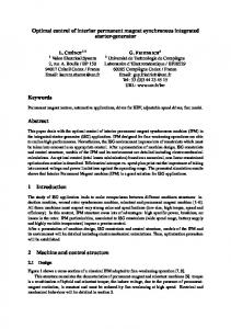 Optimal control of interior permanent magnet synchronous integrated starter-generator