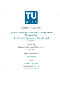 Optimal Financial Decision Making under Uncertainty Asset Price Dynamics: Shocks and Regimes
