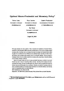 Optimal Macro-Prudential and Monetary Policy