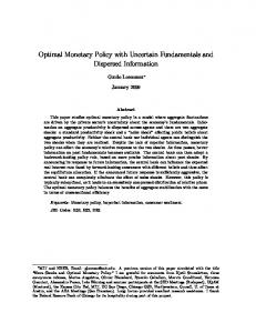 Optimal Monetary Policy with Uncertain Fundamentals and Dispersed Information