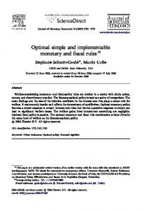 Optimal simple and implementable monetary and fiscal rules $