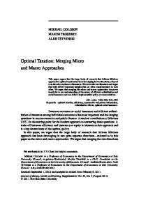 Optimal Taxation: Merging Micro and Macro Approaches