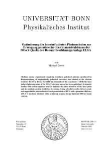 Optimierung der laserinduzierten Photoemission zur Erzeugung polarisierter Elektronenstrahlen an der 50 kev-quelle der Bonner Beschleunigeranlage ELSA