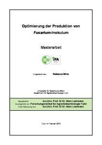 Optimierung der Produktion von Fusarium-Inokulum. Masterarbeit