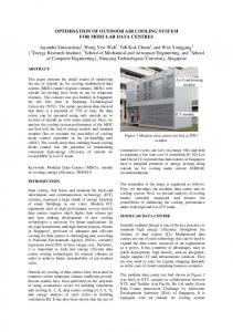 OPTIMISATION OF OUTDOOR AIR COOLING SYSTEM FOR MODULAR DATA CENTRES