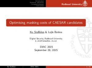 Optimising masking costs of CAESAR candidates