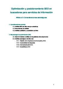 Optimización y posicionamiento SEO en buscadores para servicios de información
