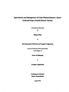 Optimization and Management of Cyber-Physical Systems - Smart Grid and Plug-in Hybrid Electric Vehicles