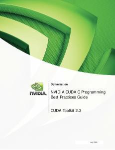 Optimization. NVIDIA CUDA C Programming Best Practices Guide. CUDA Toolkit 2.3