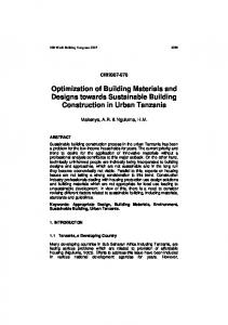 Optimization of Building Materials and Designs towards Sustainable Building Construction in Urban Tanzania