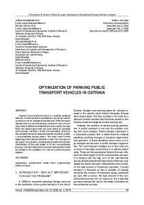 OPTIMIZATION OF PARKING PUBLIC TRANSPORT VEHICLES IN OSTRAVA