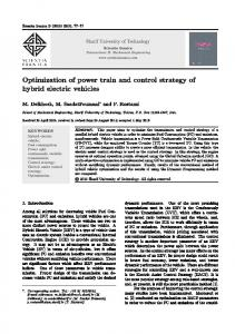 Optimization of power train and control strategy of hybrid electric vehicles