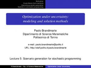 Optimization under uncertainty: modeling and solution methods