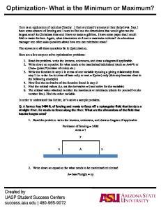Optimization- What is the Minimum or Maximum?
