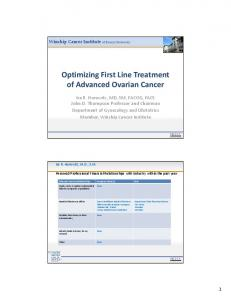 Optimizing First Line Treatment of Advanced Ovarian Cancer