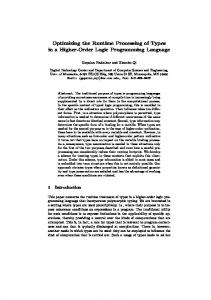Optimizing the Runtime Processing of Types in a Higher-Order Logic Programming Language