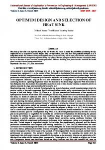 OPTIMUM DESIGN AND SELECTION OF HEAT SINK