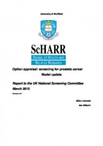 Option appraisal: screening for prostate cancer Model update