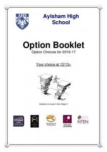 Option Booklet Option Choices for