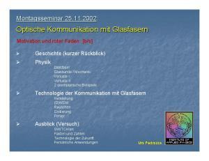 Optische Kommunikation mit Glasfasern