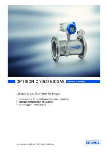 OPTISONIC 7300 BIOGAS Technical Datasheet