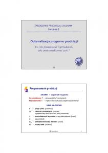 Optymalizacja programu produkcji