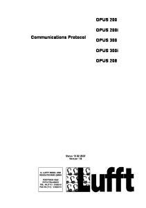 OPUS 200. OPUS 200i. Communications Protocol OPUS 300. OPUS 300i OPUS 208. Status Version 1.8