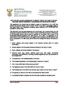 OR COMMODITY CLEARANCE STATUS IN SOUTH AFRICA