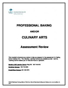 OR CULINARY ARTS. Assessment Review