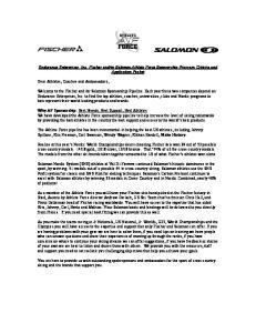 or Salomon Athlete Force Sponsorship Program, Criteria and Application Packet