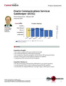 Oracle Communications Services Gatekeeper (OCSG)