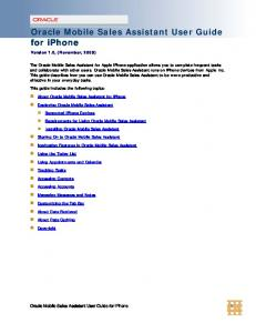 Oracle Mobile Sales Assistant User Guide for iphone