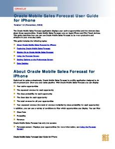 Oracle Mobile Sales Forecast User Guide for iphone. About Oracle Mobile Sales Forecast for iphone