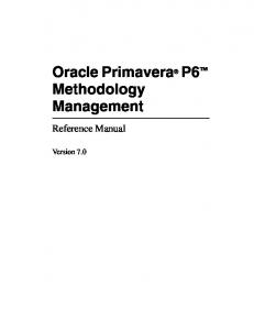 Oracle Primavera P6 Methodology Management