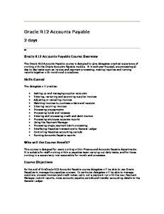 Oracle R12 Accounts Payable